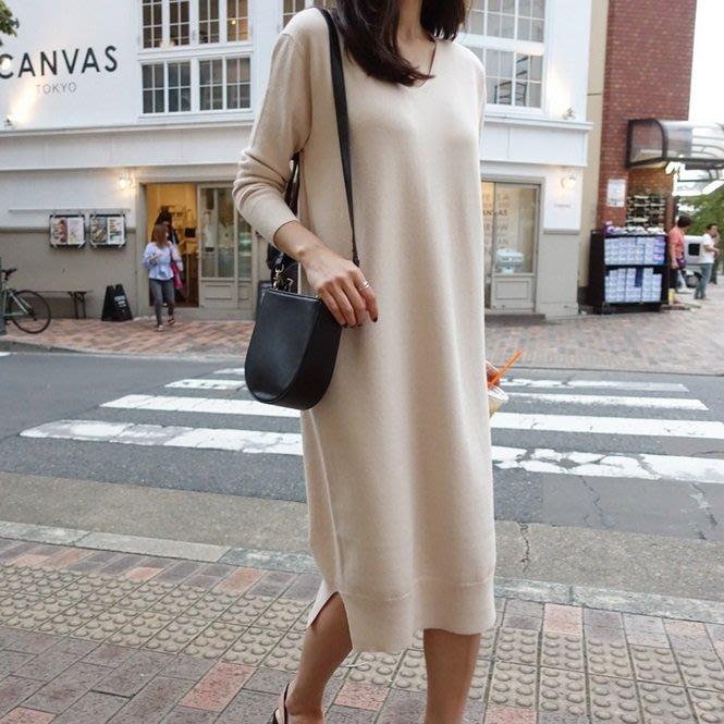 Bellee  正韓  V領側開衩混羊毛針織洋裝 連身裙  (2色)  【S191863】