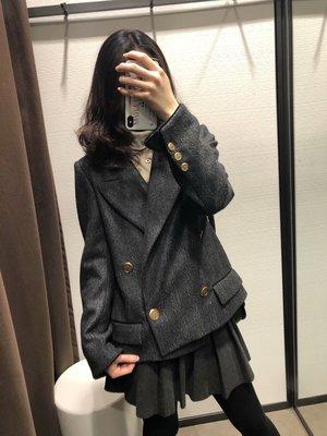 【Strawberry】2018秋冬新品鋸齒紋雙排扣翻領西裝短外套3445/002