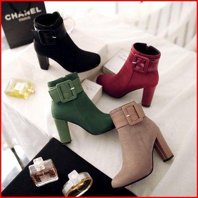 大尺碼鞋【A13096】美靴嚴選~人氣皮釦帶粗跟百搭~4色~