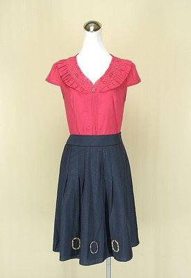 ◄貞新►yoana 傅子菁 桃紅V領短袖棉質上衣M(38號)+Chubby 巧比 靛藍緞面圓裙M號(72592)