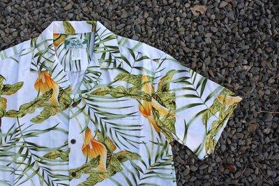 「蔣柒」Two Palms 夏威夷衫Aloha Shirt 白底黃花 夏威夷製造 現貨 S M L 官方授權 花襯衫