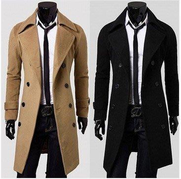 ~絕品好店~外套男裝 黑色長款毛呢大衣雙排扣翻領長袖大衣
