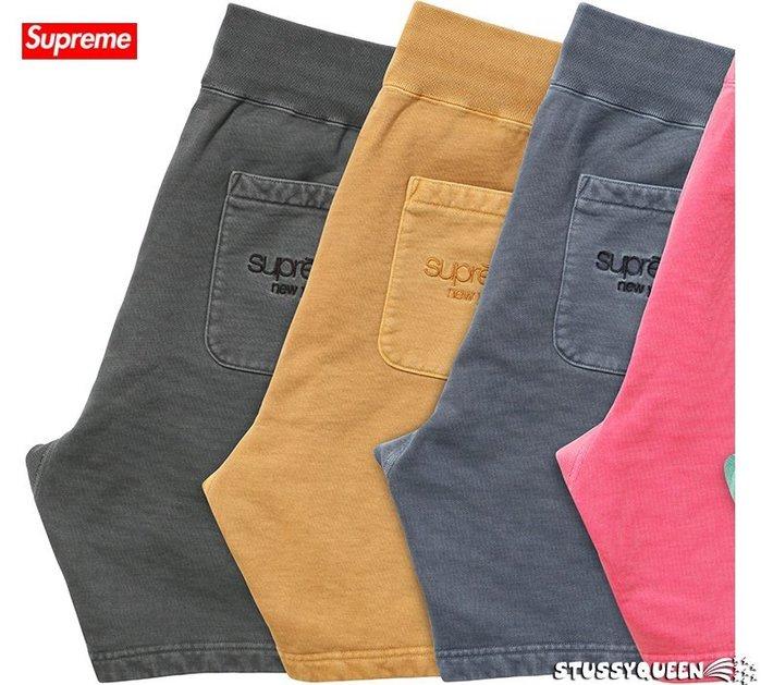 【超搶手】全新正品 2015 SS 最新 Supreme Over Dyed Sweatshort 短褲 黑藍S M L