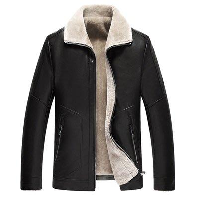 皮衣 外套 皮夾克-皮毛一體加厚休閒男外套3色73ua27[獨家進口][米蘭精品]