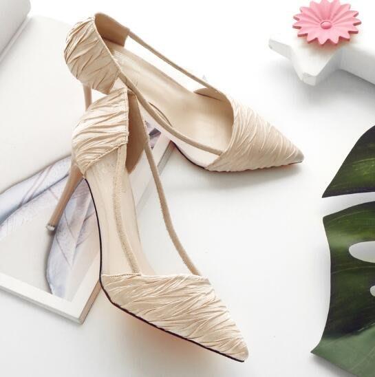 婚鞋 新款細跟網紗涼鞋 高跟氣質OL單鞋 百搭尖頭淺口女鞋—莎芭