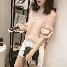 ღWild at Heartღ(現貨白M)6213#胖mm大碼女裝夏季新款時尚修身綁帶雪紡衫上衣