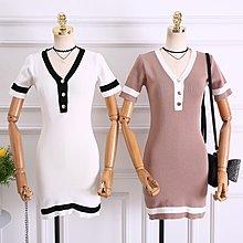 2018夏季新款韓版小香風v領撞色短袖針織修身顯瘦連衣裙短裙女