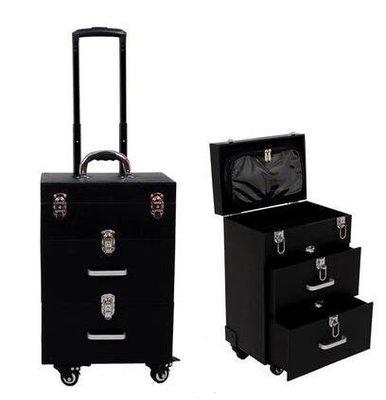 【優上】豪華萬向輪拉桿化妝箱拉桿箱專業大號多層收納箱紋繡工具箱黑色雙抽屜