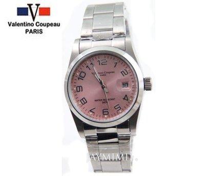 【JAYMIMI傑米】Valentino范倫鐵諾古柏不鏽鋼腕錶-時尚粉色極簡石英錶 數字面板 特價600