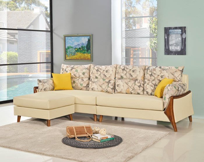 【DH】商品編號BC145-2商品名稱L型沙發組280CM米色(圖一)輔助椅可左右移動擺飾.備有淺綠色可選主要地區免運費