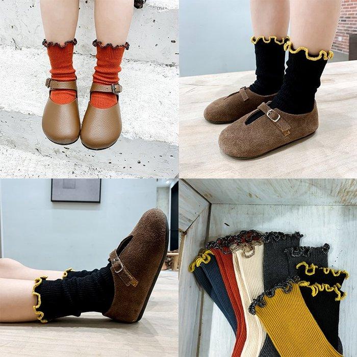 【小阿霏】兒童短襪 中純色木耳邊荷葉邊堆堆襪 女童女孩襪子 中小中大童尺碼PA363