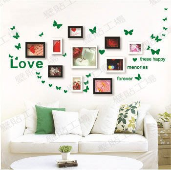 壁貼工場-可超取 小號壁貼 牆貼室內佈置 貼紙 綠色蝴蝶-LOVE 教室佈置 組合貼 AY006-F綠