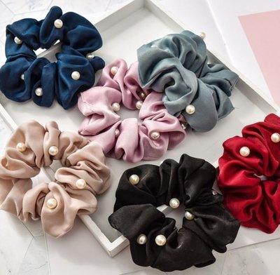❤現貨在台D038❤韓版珍珠大腸圈布藝髪圈 氣質款髮飾