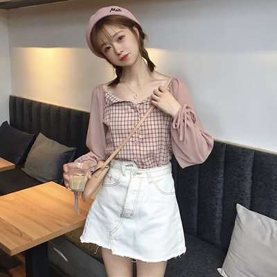 小香風 短袖T恤 時尚穿搭 韓版 修身 顯瘦 格子拼接系帶燈籠袖襯衣學生長袖休閑襯衫上衣女