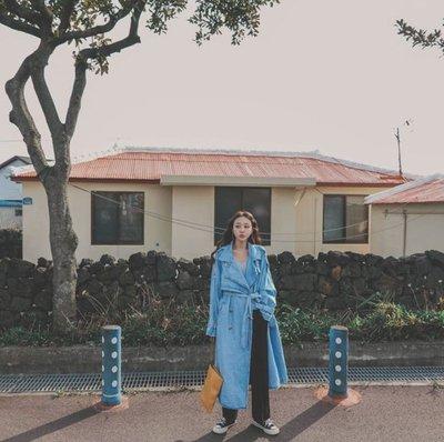韓國 牛仔單寧蝴蝶結綁帶風衣外套大衣