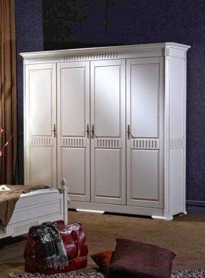 美生活館--浪漫白色家具--愛妮塔復古白 四門衣櫥--有現貨--僅有一組促銷 優惠 41800 元.