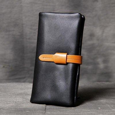 長夾真皮錢包-黑色抽帶多卡位牛皮男女皮夾2款73vp20[獨家進口][米蘭精品]
