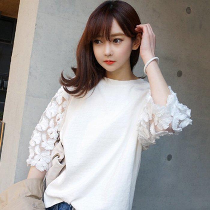 韓系 蕾絲袖上衣2018夏新款七分袖女t恤学生韩版百搭小衫圆领bf宽松中袖蕾丝上衣