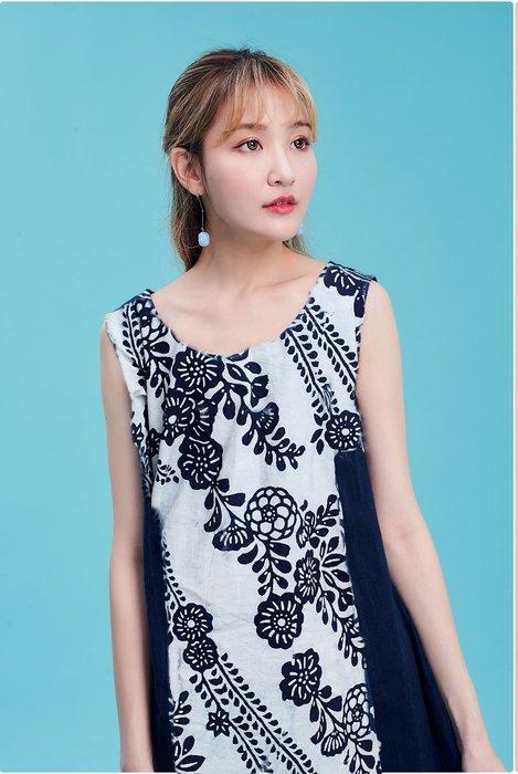 !!((中國藍Anewei))藍染白玫瑰拼貼背心洋裝/背心裙~MLXL~一衣多穿 四季皆宜