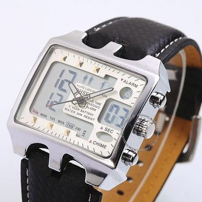 Casual Rectangle LCD Digital Date Day Alarm Leather Band Mens Sport Quartz 男錶