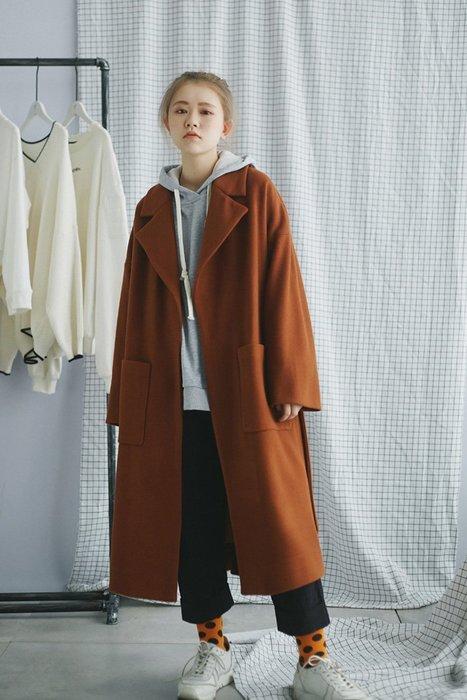 秋冬西裝領 挺廓大口袋復古純色開襟毛絨綁帶長大衣  2件免運!