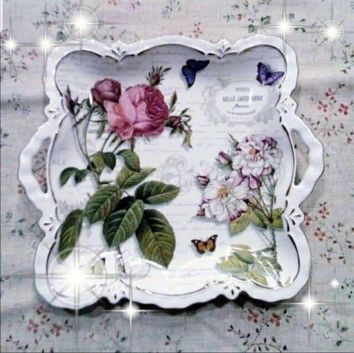 粉紅玫瑰精品屋~英式浪漫玫瑰 雙耳四方果盤 12寸~
