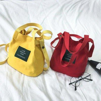 琳達購物中心-日系時尚復古簡約百搭-帆布單肩手提小水桶包包