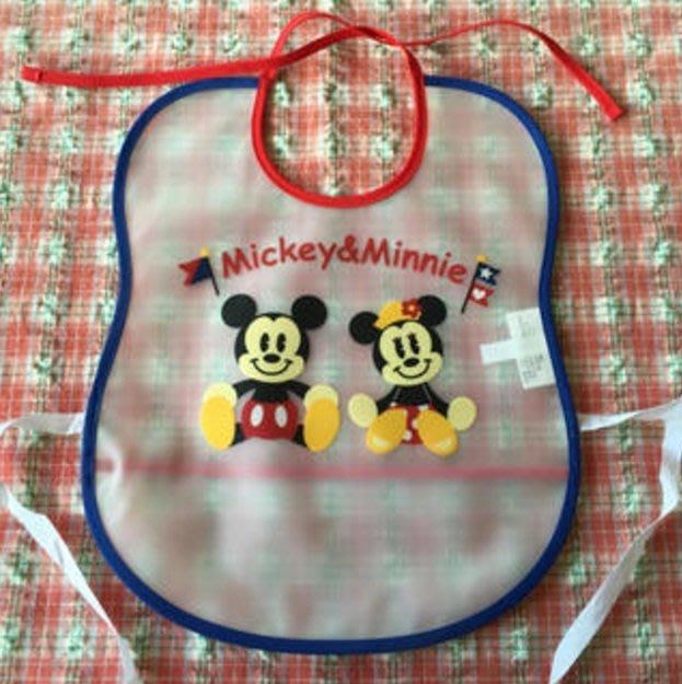 Ariel's Wish-日本迪士尼阿卡將米奇米妮離乳學習二合一用餐軟布口袋防水收納圍兜兜BABY滿月彌月周歲禮-日本製