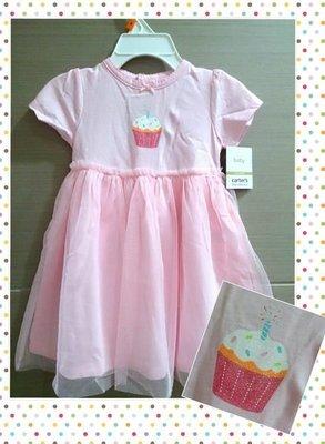 【Nichole's歐美進口優質童裝】Carter's 女童 粉紅短袖蓬蓬/紗裙裙氣質小洋裝(附小褲褲) 彌月/生日禮