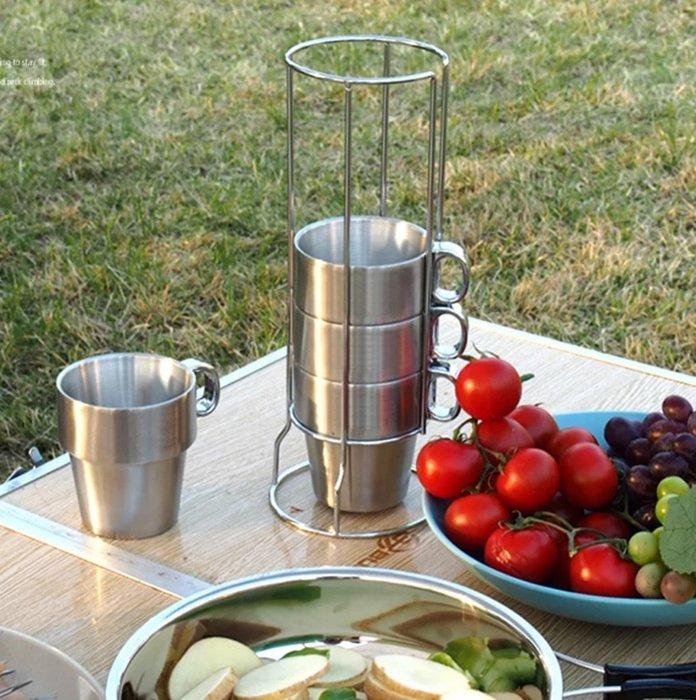 預購。韓國品牌露營必備雙層真空隔熱,握把+杯體全不銹鋼杯升級版,附架子+收納袋,實用省空間(6杯組)