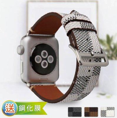 Apple watch 1 2 3 4 代 38 40 42 44 mm 簡約 格子 皮革 編織 錶帶 替換帶 表帶