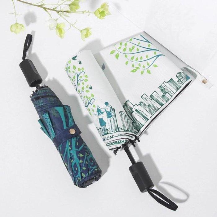【免運費】小清新雨傘折疊晴雨兩用防曬太陽傘創意森系遮陽傘防紫外線女QD3C-Y506