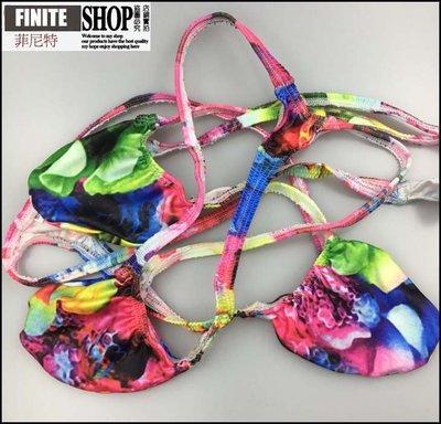 Finite-菲尼特-多彩花卉圖案印花性感男士內褲低腰露臀激凸囊袋丁字褲彈力牛奶絲