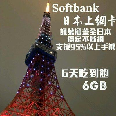 高流量!!日本上網卡SoftBank 六天 吃到飽4G/3G 日本上網 日本網卡 日本sim卡 日本網路