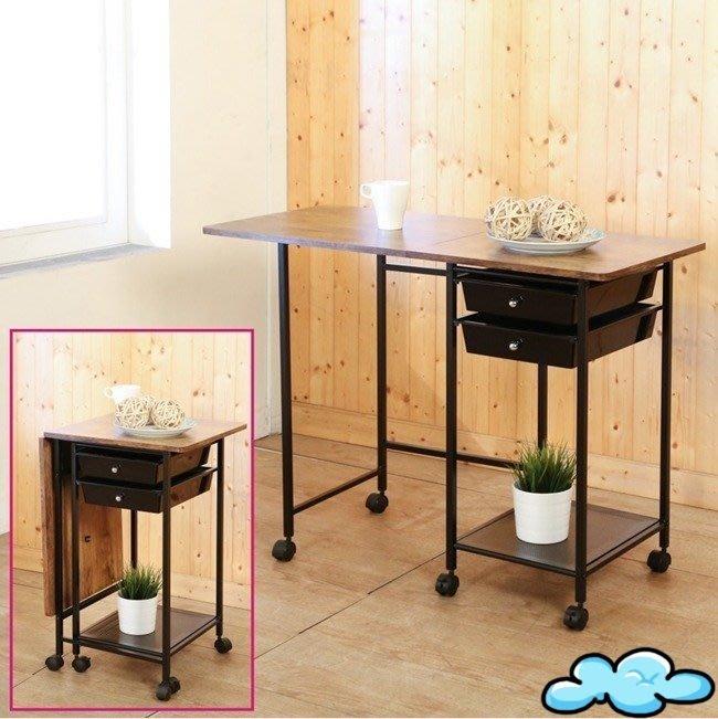 低甲醛防潑水移動式收納折疊桌(附抽屜)書桌 電腦桌 工作桌 邊桌 NB桌 【馥葉】型號TA022ZH