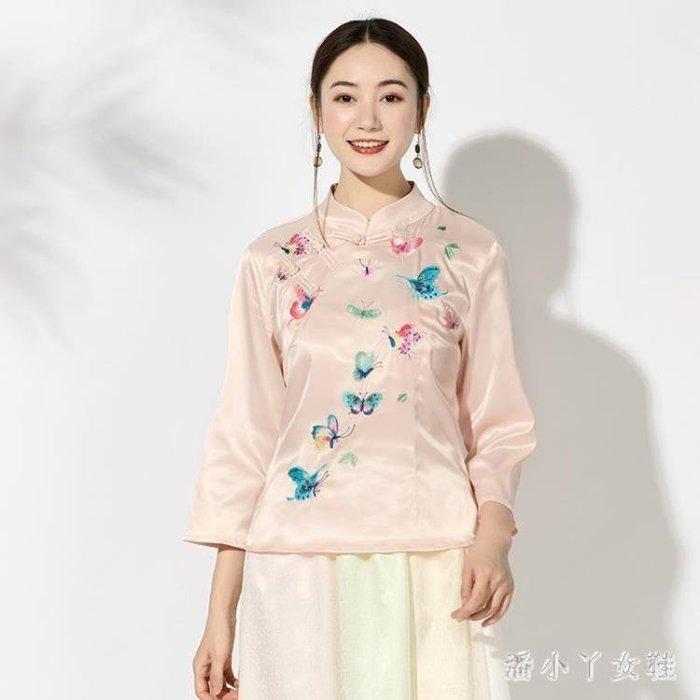 民族風上衣 女裝新款繡花復古中式短款上衣早秋旗袍式立領盤扣襯衫 df6689- -獨品飾品吧☂
