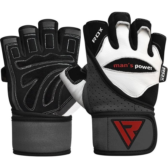【線上體育】RDX GYM GLOVE LEATHER WHITE/BLACK RDX004
