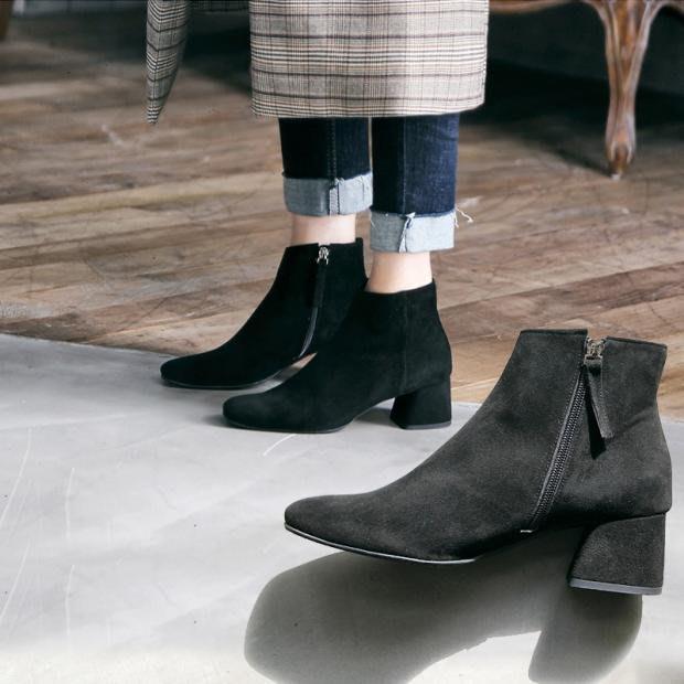 999短靴 靴子 馬丁靴 牛津靴  南在南方短靴女秋季新款粗跟馬丁靴中跟磨砂秋季英倫小靴子女