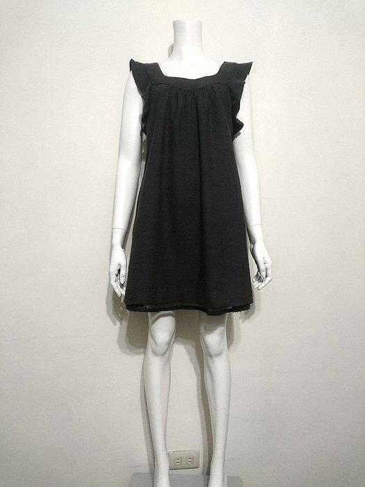 Jill Stuart正品 日本製 典雅碳灰色荷葉袖混毛料洋裝 日本專櫃 2號(M)