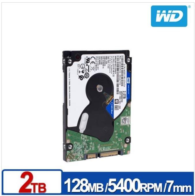 (含稅附發票全新公司貨)WD藍標2.5吋2T 2TB硬碟WD20SPZX(非1T SEAGATE WD10SPZX)