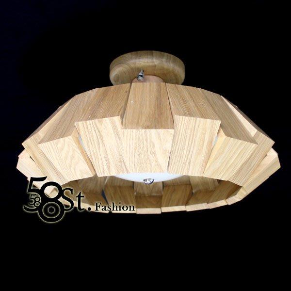 【58街】設計師款式「飛碟木製 木頭吸頂燈」複刻版。GZ-192
