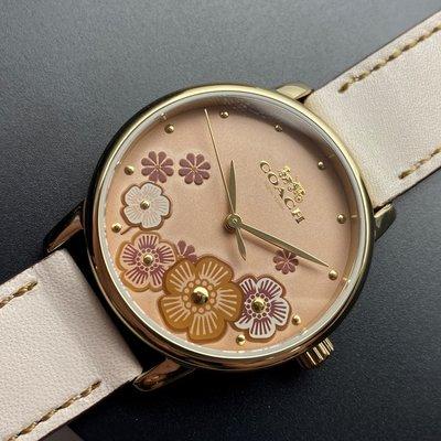 COACH蔻馳女錶,編號CH00003,36mm金色圓形精鋼錶殼,淺紅色花紋錶面,米白色真皮皮革錶帶款,送禮最愛!
