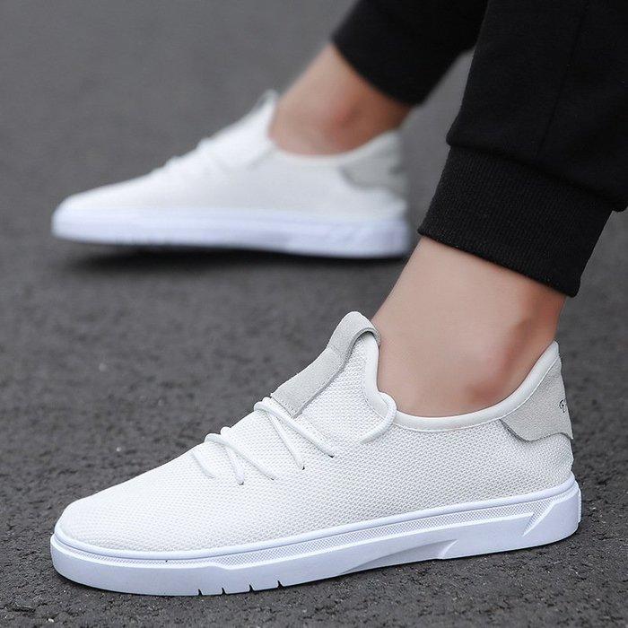 時尚男鞋網面小白鞋爆款白色防臭男鞋學生戶外百搭帆布鞋