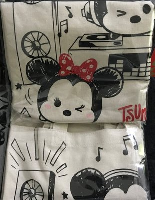 ~尋寶曲~全新正版TSUM TSUM米奇米妮直立式帆布購物袋/手提袋