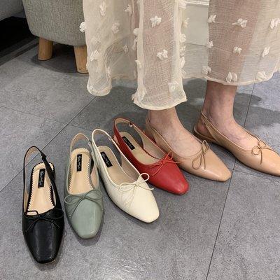 夏。韓國訂單的 顯瘦 方頭淺口蝴蝶結後綁帶低跟軟皮舒適休閒套腳娃娃鞋-Euphoria Store