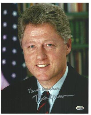 克林頓第42屆美國總統)親筆簽名白宮照片有證書