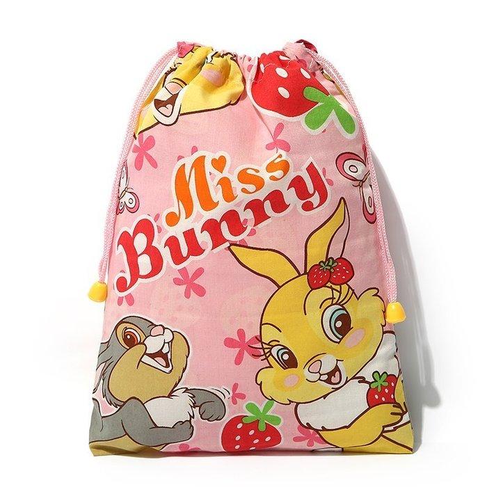 ☆Eric Zakka☆日本可愛草莓兔 麻紗抽繩束口袋 收納整理袋【現貨】JX0067