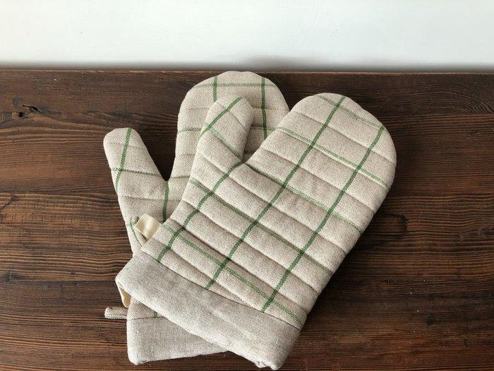 發現花園日本選物- 日本製 studio m 可掛式 厚手 隔熱手套 ~綠格子