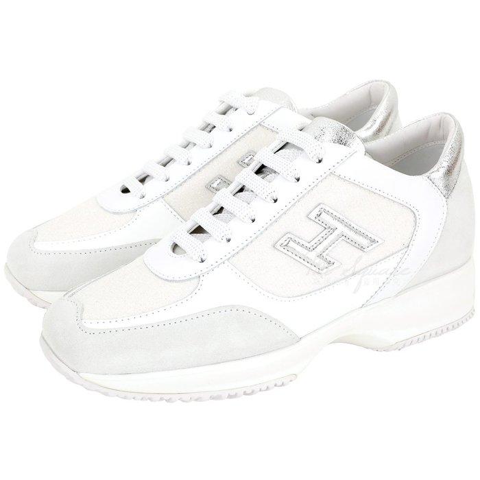 米蘭廣場 HOGAN Interactive H 冰裂紋拼接繫帶休閒鞋(白色) 1920614-20