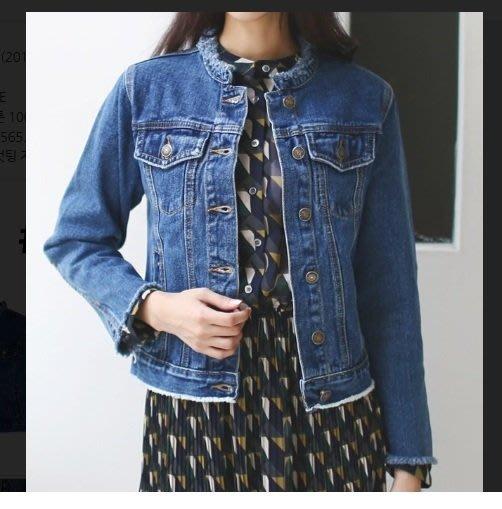 韓系丁丁。韓國空運 ROYAL 秋冬新款 時尚修身短款牛仔衣無領毛邊 雙色3D休閒牛仔外套 #2051 現貨深藍